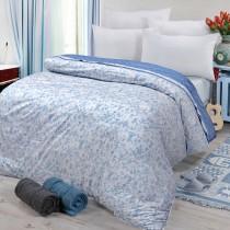 【FITNESS】精梳棉雙人鋪棉兩用被套-芳草幽夢(藍)