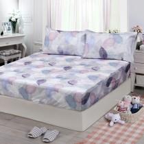 【FITNESS】精梳棉特大床包枕套三件組-日光(紫)