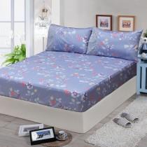 【FITNESS】精梳棉雙人特大床包枕套三件組-馬格森特(灰藍)