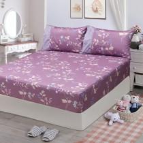 【FITNESS】精梳棉雙人特大床包枕套三件組-馬格森特(紫紅)