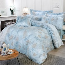 【FITNESS】精梳棉雙人特大七件式床罩組-里葉亭(藍)
