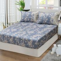 【FITNESS】精梳棉雙人特大床包枕套三件組-緲緲煙花(灰藍)