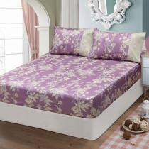 【FITNESS】精梳棉雙人特大床包枕套三件組-緲緲煙花(紫)