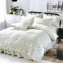 【Indian】100%純天絲雙人加大四件式鋪棉床包兩用被組-慢歌花語