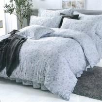 【Indian】100%純天絲雙人加大四件式鋪棉床包兩用被組-淺憶花園