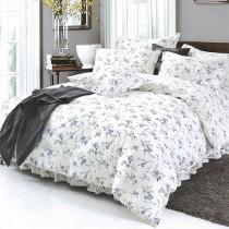 【Indian】100%純天絲雙人加大四件式鋪棉床包兩用被組-木槿花開