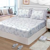 【FITNESS】精梳棉特大床包枕套三件組-花影葉語(卡其)