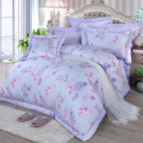 【FITNESS】100%純天絲頂級60S雙人加大七件式床罩組-思堤春曉