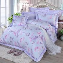 【FITNESS】100%純天絲頂級60S雙人特大七件式床罩組-思堤春曉