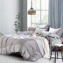 【FITNESS】100%純天絲頂級60S雙人特大七件式床罩組-靜薇