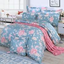 【FITNESS】精梳棉雙人特大七件式床罩組-粉妝輕抹(藍灰)