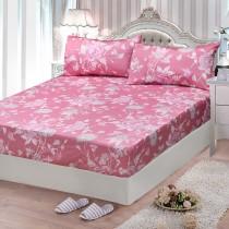 【FITNESS】精梳棉雙人特大床包枕套三件組-粉妝輕抹(粉)