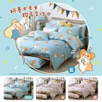 【柯基犬卡卡】精梳棉雙人四件式兩用被床包組-歡樂派對(四色任選)