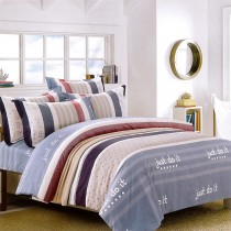 【Indian】加大四件式印花兩用被床包組-幸福曲線