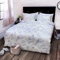 【FITNESS】精梳棉加大四件式被套床包組- 霓虹鏡(藍)