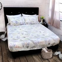 【FITNESS】精梳純棉加大床包+枕套三件組- 霓虹鏡(藍)