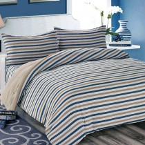 【Victoria】日式條紋加大床包被套枕套四件組-條紋