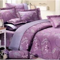 【Victoria】純棉加大床包組-紫玫瑰