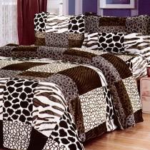 【Victoria】法蘭絨鋪棉加大床包四件組-爵士