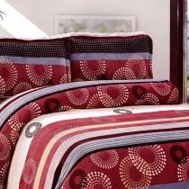 【Victoria】法蘭絨鋪棉加大床包四件組-繽紛