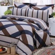 【FITNESS】純棉特大床包+枕套三件組-格雷爾(藍)