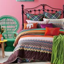 【Indian】萊卡 雙人四件式純綿兩用被床包組(環保磨毛)