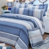 【FITNESS】精梳棉加大四件式被套床包組-克里斯(藍)