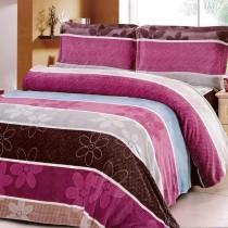 【Victoria】法蘭絨鋪棉加大床包四件組-雅緻