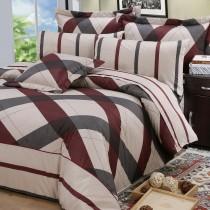 【FITNESS】純棉特大床包+枕套三件組-格雷爾(棗紅)