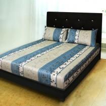 【Victoria】純棉加大床包+枕套三件組 - 飄花藍