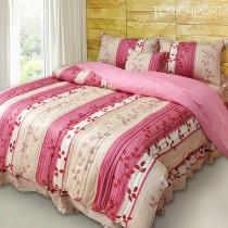 【Victoria】純棉特大五件式床罩組-飄花粉