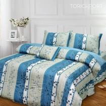 【Victoria】純棉特大五件式床罩組-飄花藍
