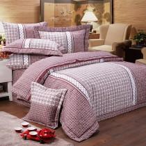 【FITNESS】精梳棉雙人四件式被套床包組- 艾斯琴曲(紅)