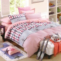 【Indian】印花雙人床包兩用被組--粉嫩