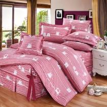 【FITNESS】精梳純棉雙人七件式床罩組- 萌玩樂園(粉)