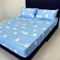 【FITNESS】精梳純棉加大床包+枕套三件組- 萌玩樂園(藍)