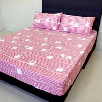 【FITNESS】精梳純棉加大床包+枕套三件組- 萌玩樂園(粉)