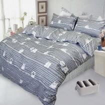 【FITNESS】精梳棉雙人四件式被套床包組- 萌玩樂園(灰)