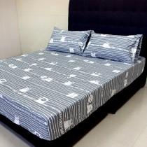 【FITNESS】精梳純棉加大床包+枕套三件組- 萌玩樂園(灰)