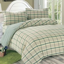 【Victoria】日式條紋雙人床包被套枕套四件組-葉綠
