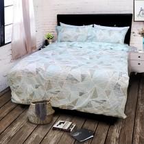 【FITNESS】精梳棉單人三件式被套床包組- 霓虹鏡(綠)