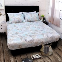 【FITNESS】精梳純棉雙人床包+枕套三件組- 霓虹鏡(綠)