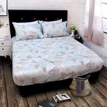 【FITNESS】精梳純棉加大床包+枕套三件組- 霓虹鏡(綠)