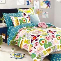 【Indian】加大四件式印花兩用被床包組-幾何
