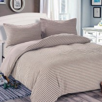 【Victoria】日式條紋單人床包被套枕套三件組-雅致