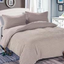 【Victoria】日式條紋加大床包被套枕套四件組-雅致